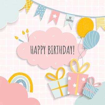 유아 소녀 또는 소년을 위한 생일 축하 카드