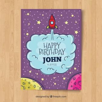 Happy birthday card in hand drawn style