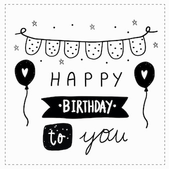Happy birthday card hand drawn