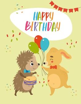 Happy birthday card hedgehog and dog