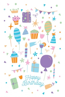 Happy birthday card. illustration of cartoon postcard with gift box, sweets and balloons.