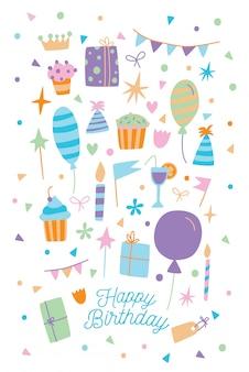 お誕生日おめでとうカード。ギフト用の箱、お菓子、風船と漫画のポストカードのイラスト。