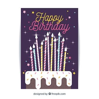평면 스타일의 생일 축하 카드