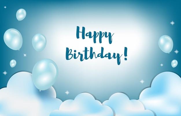 Happy birthday card invitation celebration balloon cloud sky background