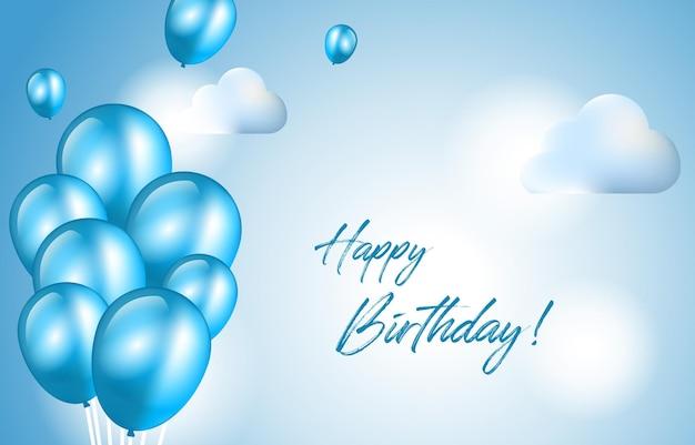 Happy birthday card invitation celebration balloon sky cloud background