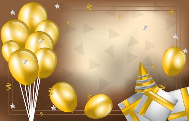 С днем рождения карты приглашения празднование фоне золотой воздушный шар