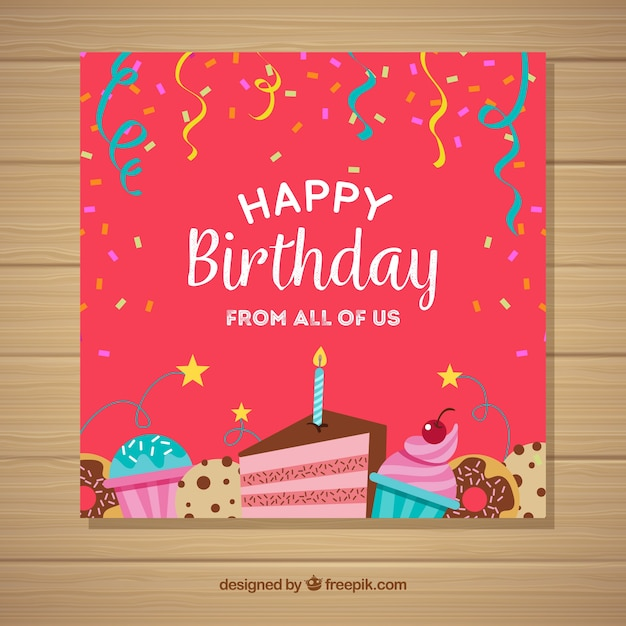Free Happy Birthday Card Invitation In Flat Style Svg Dxf