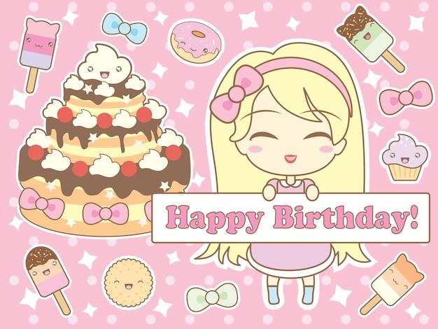Happy birthday card in kawaii style