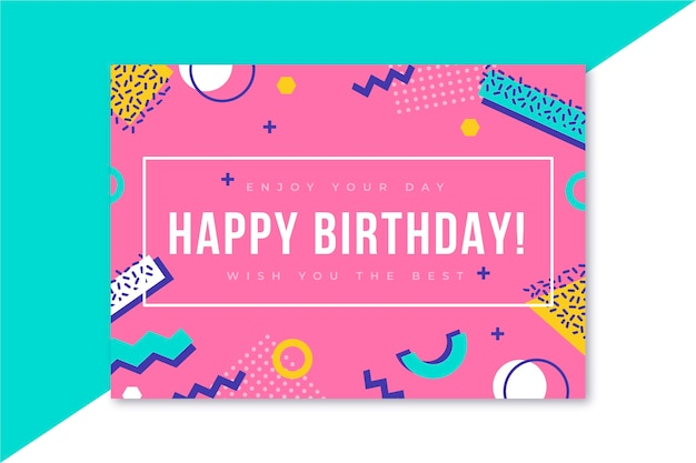 Happy birthday card memphis design
