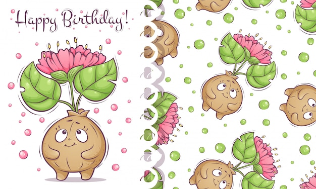 Happy birthday card and pattern with cute flower plant.