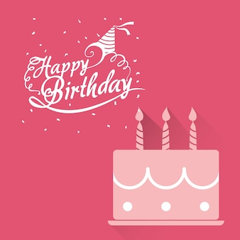Happy birthday card pink cake lettering confetti
