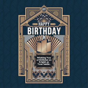 Happy birthday card, retro art deco vector design golden