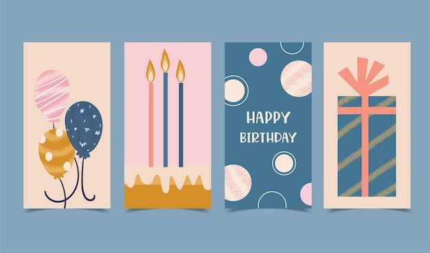 Happy birthday card set decorated with candles, cakes, gift boxes and balloons