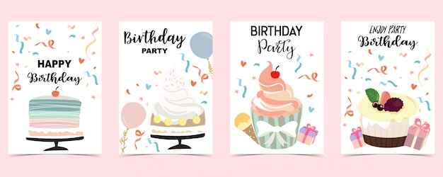 Happy birthday card set with cake, confetti, balloon