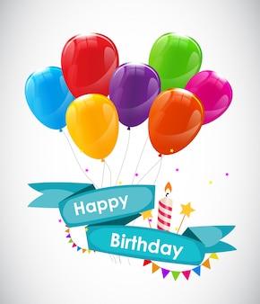 Шаблон поздравительной открытки с днем рождения с воздушными шарами