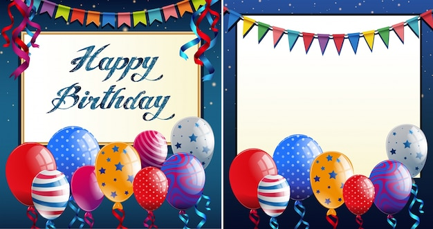 Happy birthday card template with blue border and colorful balloons