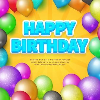 Happy birthday card. vector balloons and birthday