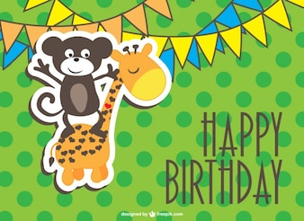 Happy birthday card with a monkey and a giraffe