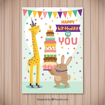 Happy birthday card with animals in flat style