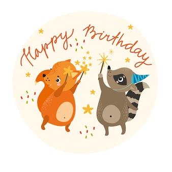 Carta di buon compleanno con gli animali