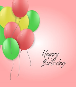 Happy birthday card with ballon