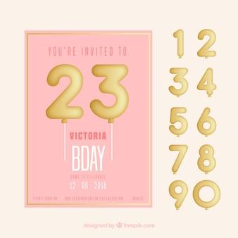 평면 스타일의 풍선 숫자와 함께 생일 축하 카드