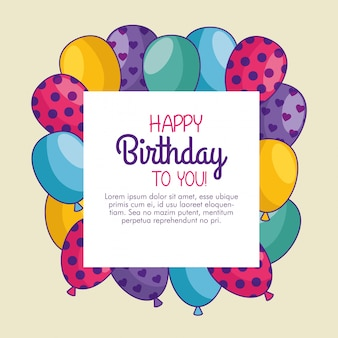 Happy birthday card with balloons decoration