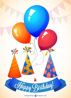 Happy birthday card with balloons and party hats