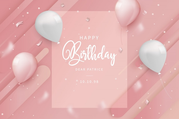 Открытка на день рождения с воздушными шарами