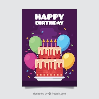 Happy birthday card with cake in flat style