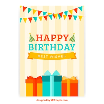Happy birthday card with cake and gifts box in flat style
