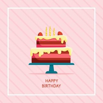ケーキとお誕生日おめでとうカード