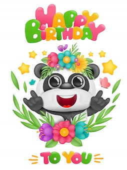 Happy birthday card with cartoon panda kawaii character in floral frame
