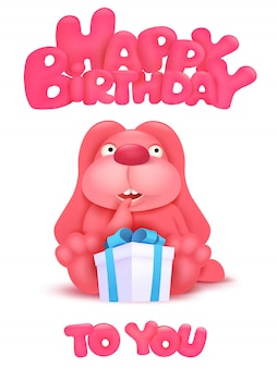 Happy birthday card with cartoon pink bunny character.