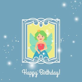 Happy birthday card with cartoon princess