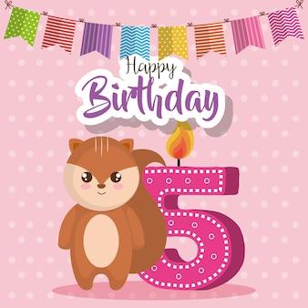 Happy birthday card with chipmunk