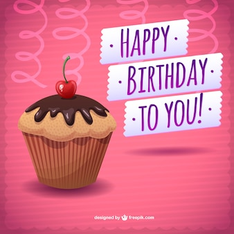 Happy birthday card with a chocolate cupcake