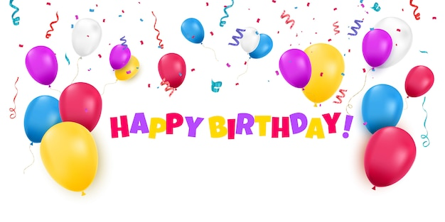 Открытка на день рождения с цветными шарами и конфетти