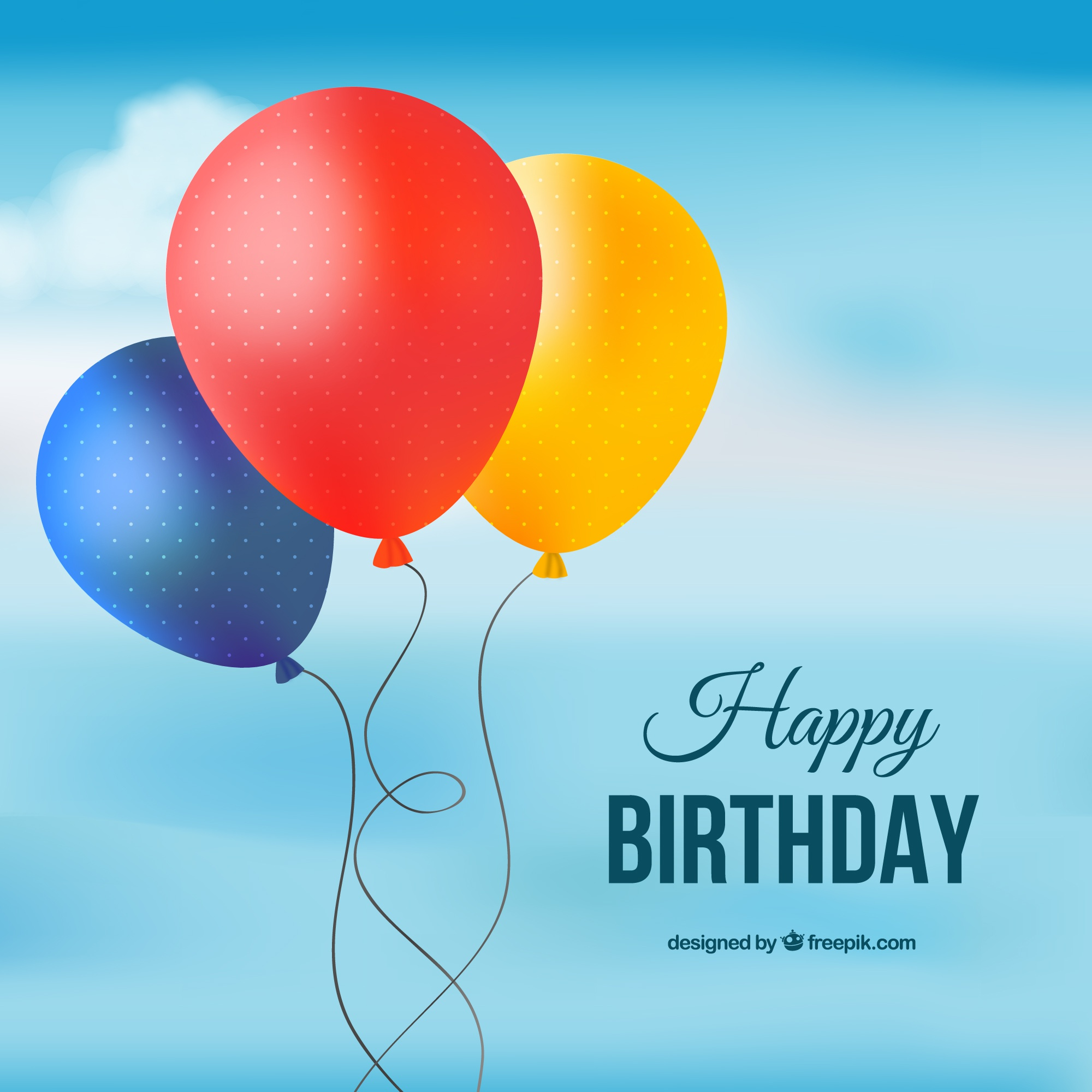 Happy birthday card with colored balloons