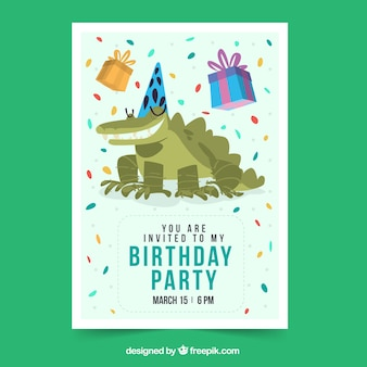 Happy birthday card with crocodile in flat style