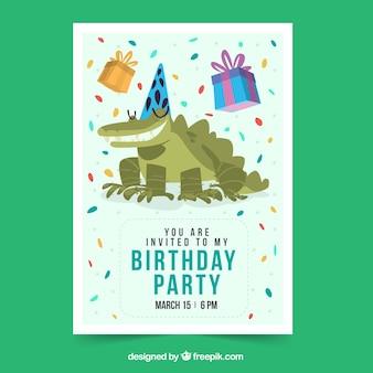 플랫 스타일의 악어와 함께 생일 축하 카드