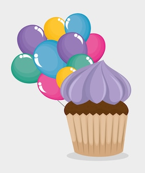 Happy birthday card with cupcake and balloons air