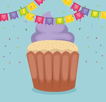 Happy birthday card with cupcake and garlands