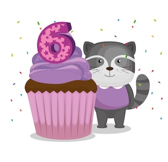 Happy birthday card with cupcake and raccoon