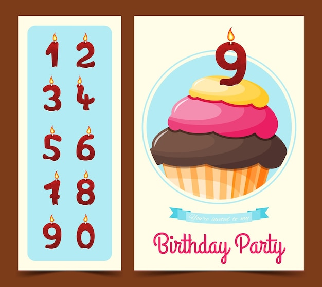 만화 스타일의 컵 케이크와 함께 생일 축하 카드