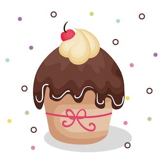 Happy birthday card with cupcake vector illustration design