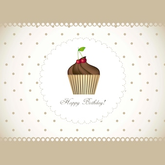 Happy birthday card with cupcake vector illustration