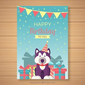 Happy birthday card with cute animal