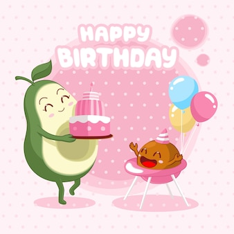 Happy birthday card with cute avocado mom gives a birthday cake to her baby