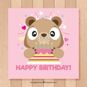 Happy birthday card with cute bear in flat style